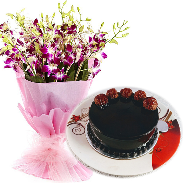 Flowers Delivery in GwaliorFerrero Rocher Cake & Orchids Bunch