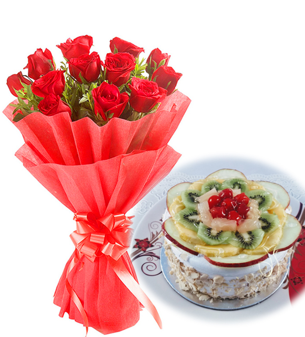 Flowers Delivery in FaridabadRed Roses & Fruit Cake