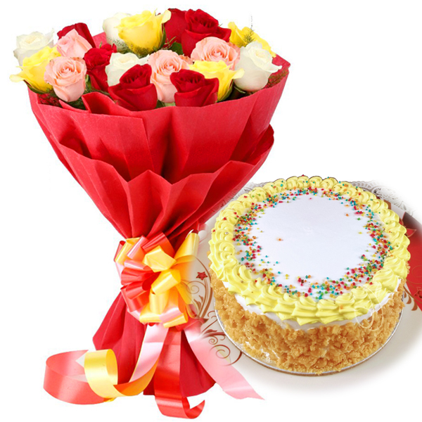 Flowers Delivery in BhilaiMix Rose & Butter Scotch Cake