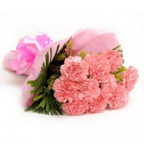 Flowers Delivery in ChandigarhBaby Pink Carnation Bunch