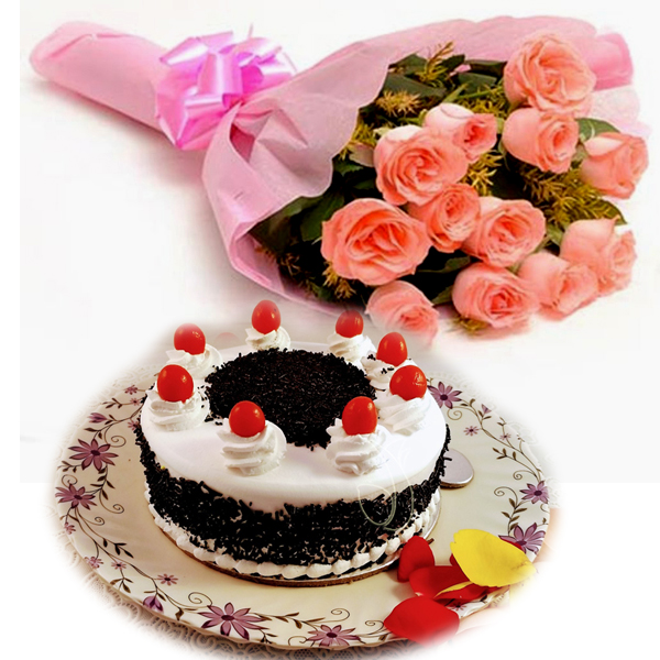 Flowers Delivery in BhilaiPink Roses & Black Forest Cake