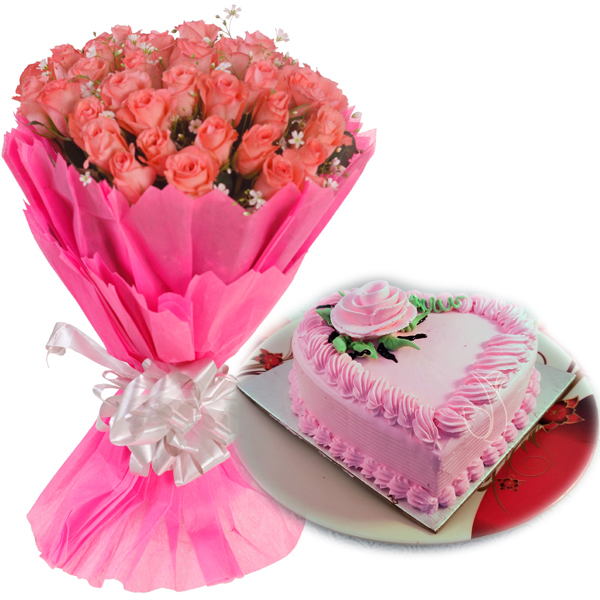 Flowers Delivery in IndorePink Roses & HeartShape Strawberry Cake