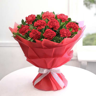 Flowers Delivery in FaridabadRed Carnation Bunch