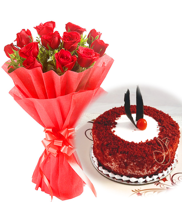 Flowers Delivery in LucknowRed Roses & Red Velvet Cake