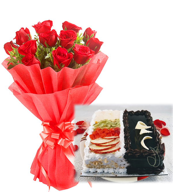 Flowers Delivery in BhilaiRed Roses & 2 in 1 Cake