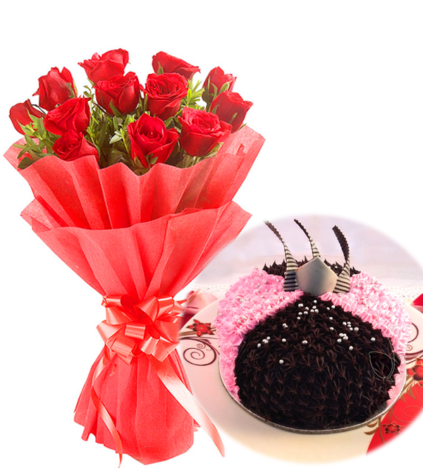 Flowers Delivery in CalcuttaRed Rose & Choco-Strawberry Cake