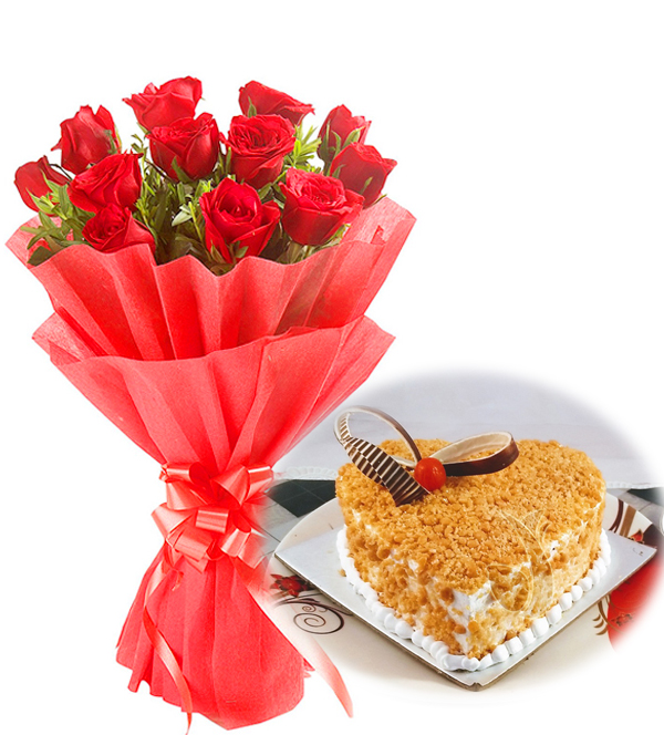 Flowers Delivery in FaridabadRed Roses & Heart Shape Butter Scotch Cake