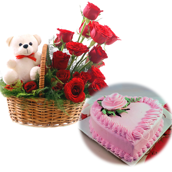 Flowers Delivery in FaridabadRose Basket & Heartshape Strawberry Cake