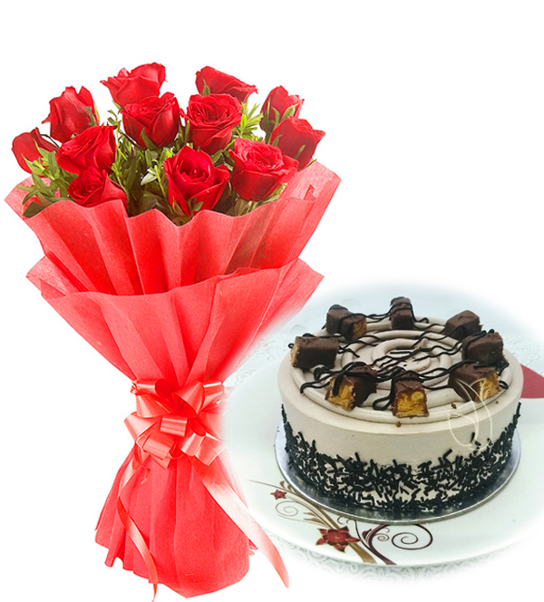 Flowers Delivery in IndoreRed Roses & Chocolate Snicker Cake