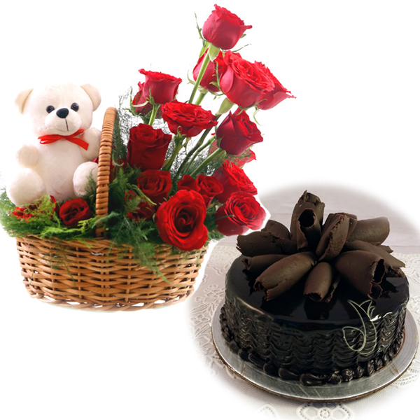 Flowers Delivery in BhilaiRose Basket & Chocolate Roll Cake