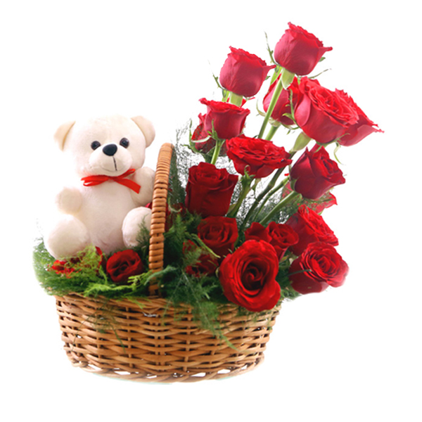 Flowers Delivery in IndoreRose Basket & Teddy