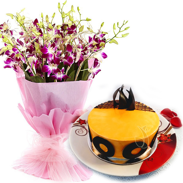 Flowers Delivery in IndoreMango Magic Cake & Orchids Bunch