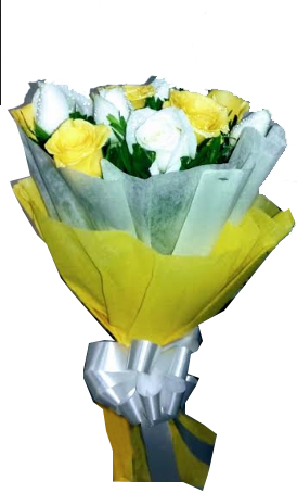 Yellow & White Roses in Tissue Packing