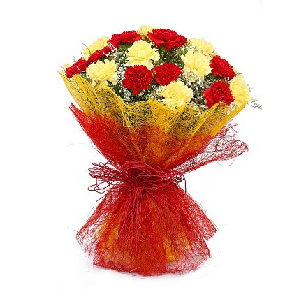 Bunch of Red & Yellow Carnation