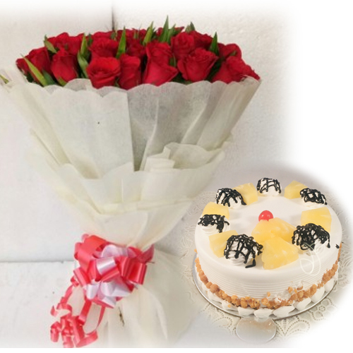 Flowers Delivery in MeerutRed Rose & Pineapple Cake