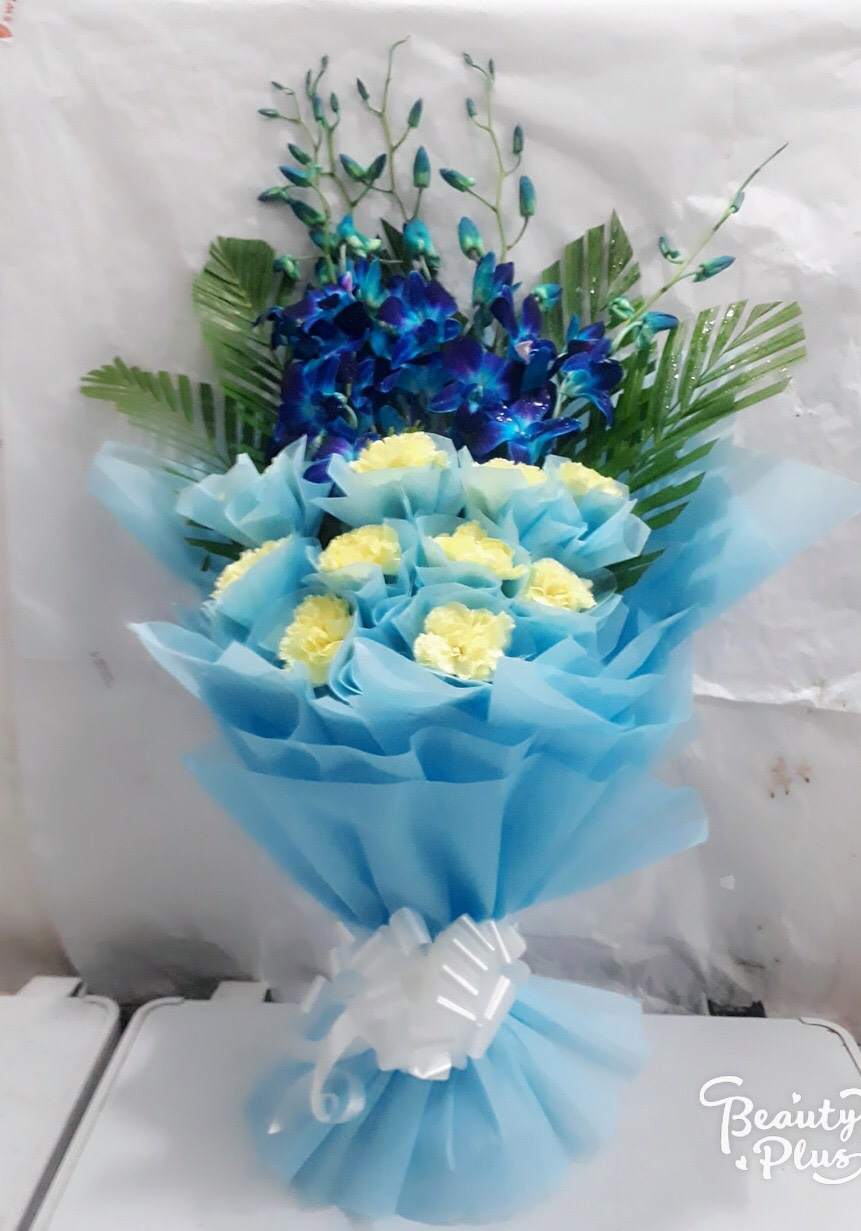 Flowers Delivery in FaridabadBlue Orchid & White Carnation