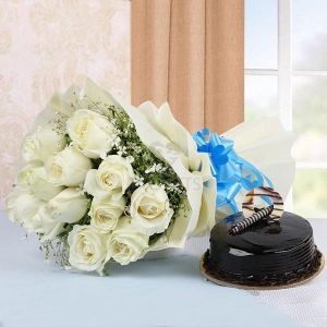Bunch of White Roses & Truffle Cake