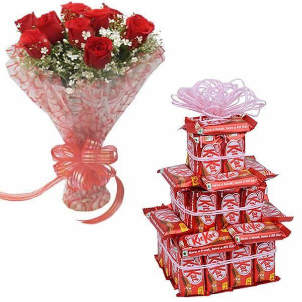 Kitkat Tower & Red Rose Bunch