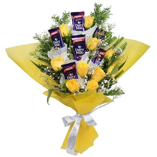 Flowers Delivery in IndoreYellow Rose & Chocolate Bunch
