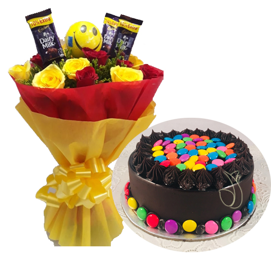 Mix Roses Chocolate & Gems Cake