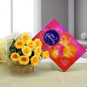 Flowers Delivery in IndoreBunch of Yellow Roses & Small Celebration Pack