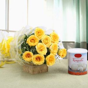 Flowers Delivery in IndoreYellow Rose & Rasgulla Pack