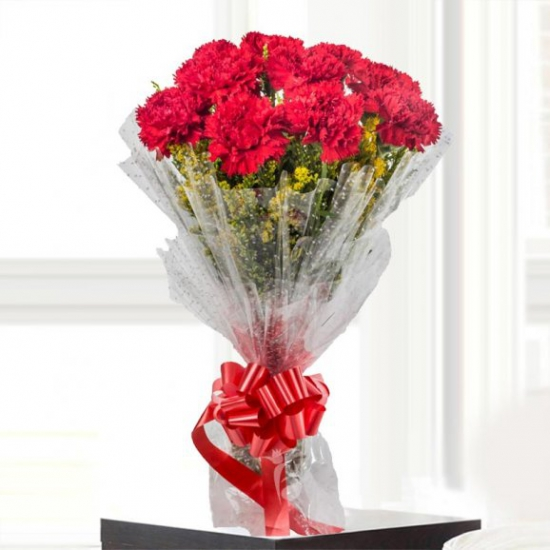 Flowers Delivery in ChandigarhBunch of Crimson Color Carnation