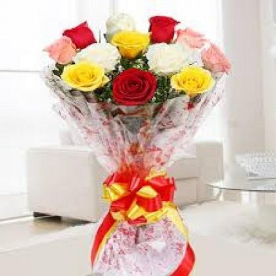 Flowers Delivery in MeerutBunch of Mix Roses
