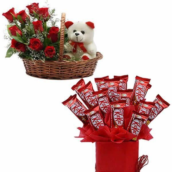 Flowers Delivery in LucknowRoses Teddy & Chocolate Arrangement