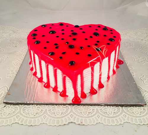 1Kg Heart Shape Strawberry Jelly Cake