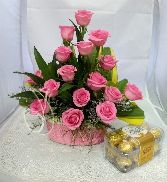 Pink Rose Basket & Box of Rocher (Only For Delhi)
