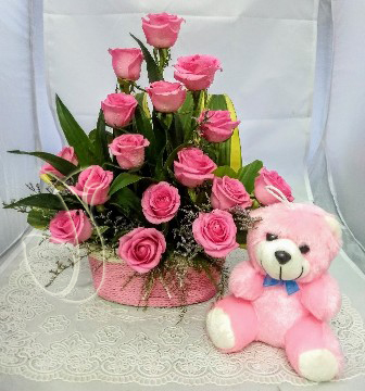 Pink Rose Basket & Small Teddy (Only For Delhi)