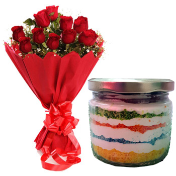 Red Roses & cake in Jar. (Only For Delhi)