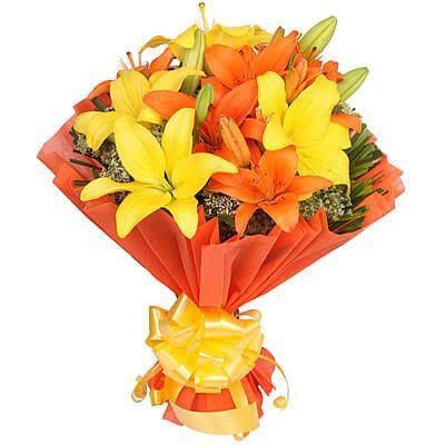 8 Mix Asiatic Lilliums in Orange Paper Packing