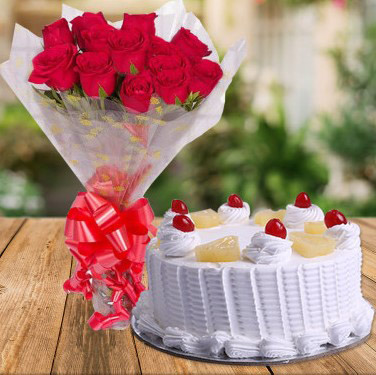 Flowers Delivery in IndoreBunch of Red Roses & Pineapple Cake