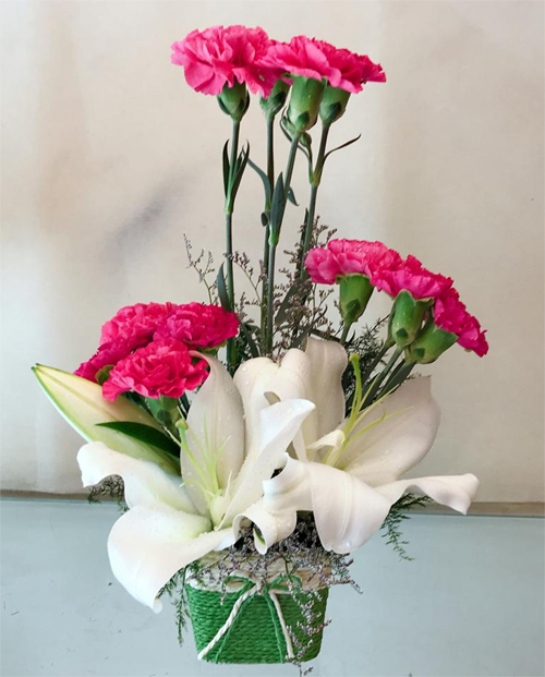 Arrangement of Pink Carnation & White Lilly  (Only For Delhi)