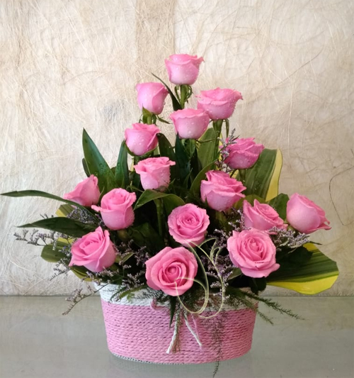 Pink Rose in Rafia Basket (Only For Delhi)