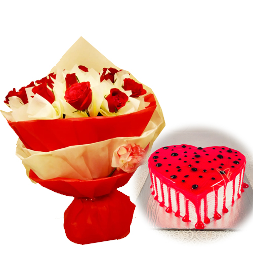 Flowers Delivery in MeerutRed Roses & HeartShape Cake