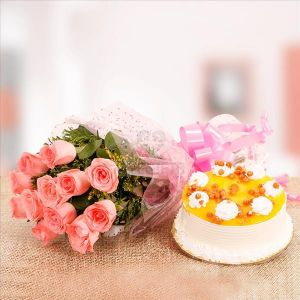 Flowers Delivery in CalcuttaPink Rose & Butter Scotch Cake