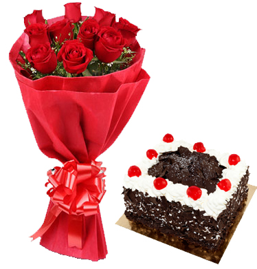Roses Bunch with Mini Cake  (Only For Gurgaon, Delhi, Noida)