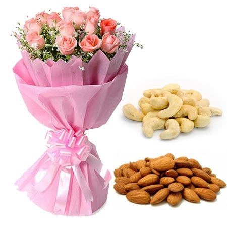 Flowers Delivery in Jalandhar12 Pink Roses in Paper with 1/2kg Kaju & Almonds