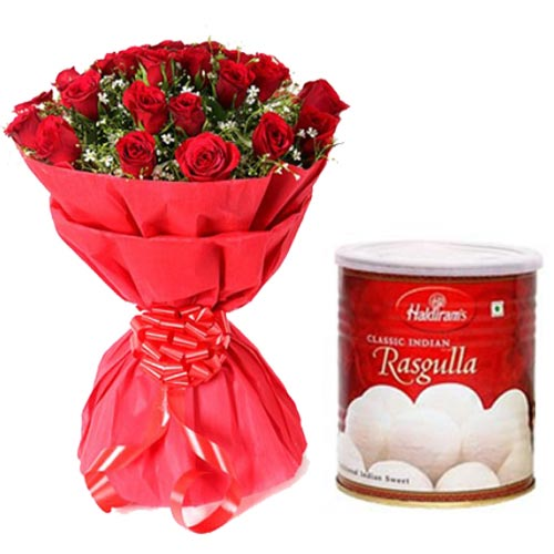 Bunch of Red Roses & Haldiram Rasgulla tin pack