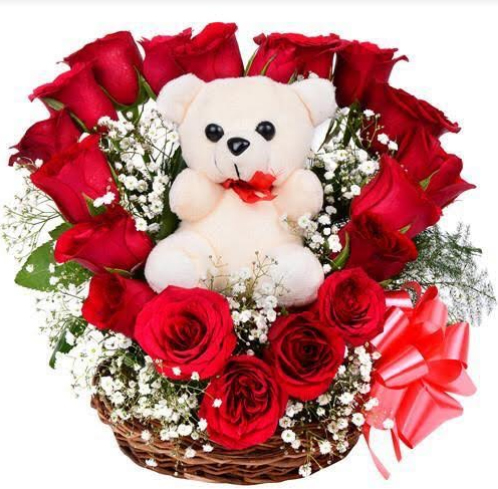 Flowers Delivery in MeerutBasket of 20 Red Roses with Teddy Bear