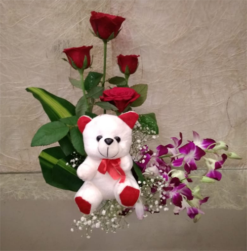 Flowers Delivery in LucknowMix Flowers & Teddy Basket