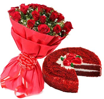 Flowers Delivery in IndoreRed Velvet Cake & 12 Red Roses