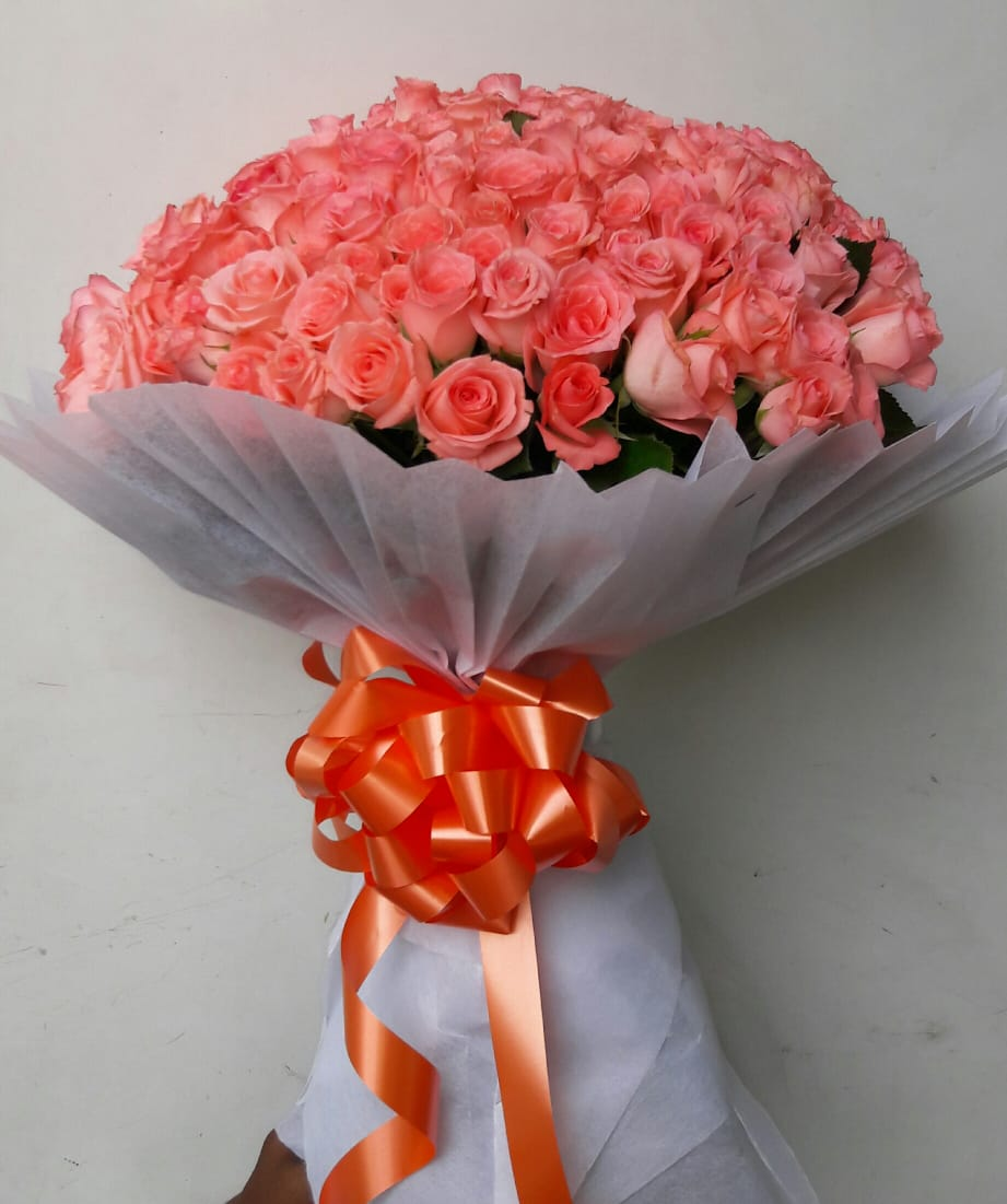 Pink Roses in White Tissue