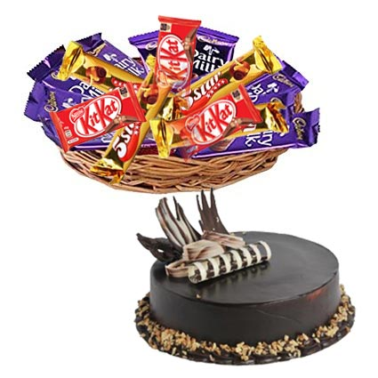Flowers Delivery in IndoreMix Chocolates Basket & Chocolate Cakes