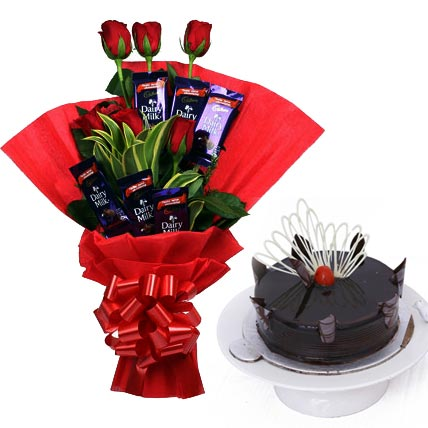 Flowers Delivery in MeerutRed Roses & Chocolate & Cake