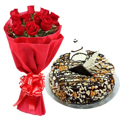 Flowers Delivery in CalcuttaRed Roses with Nutty Delight Cake