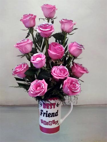 Pink Roses in Coffee Mug (Only For Delhi)